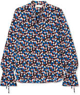Tory Burch Gianna Printed Silk-crepe Blouse - Navy