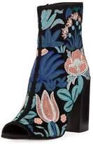 Rebecca Minkoff Billie Embroidered Suede Peep-Toe Bootie
