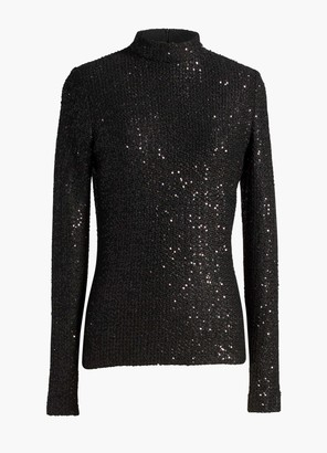 St. John Statement Sequin Knit Mock Neck Top