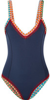 Kiini Tasmin Crochet-trimmed Swimsuit - Navy