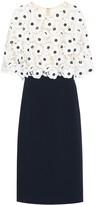 Oscar de la Renta Lace-trimmed wool-blend midi dress