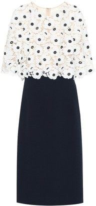 Oscar de la Renta Lace-trimmed wool-blend midi dress