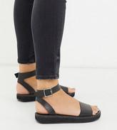 Asos Design DESIGN Wide Fit Forlong chunky flatform sandals in black
