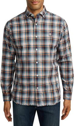 Psycho Bunny Dyott Plaid Button-Down Flannel Shirt