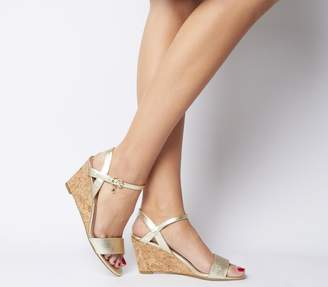 Office Maxima Low Cork Wedges Gold