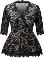 Dilanni Women Plus Size Elegant Formal Wedding Lace Tops for Bridemail