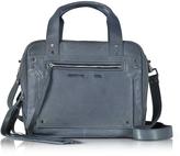 McQ by Alexander McQueen Denim Blue Leather Loveless Medium Duffle Bag