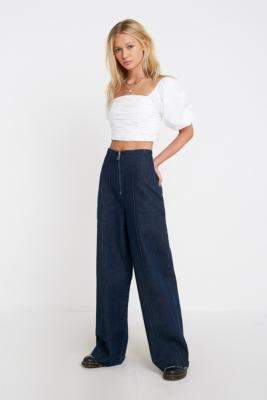 BDG Zip Front Corset Jeans - blue 32W 32L at Urban Outfitters