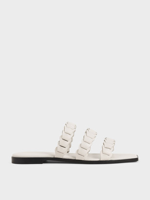 Charles & Keith Leather Pleated Strap Slide Sandals