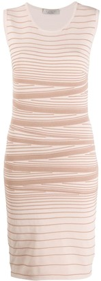 D-Exterior Striped Stretch Knit Dress