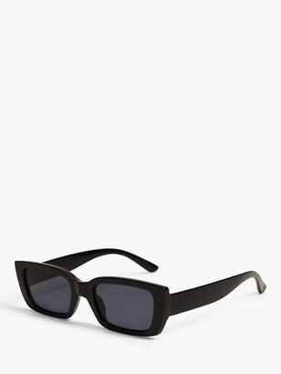MANGO Nerea Square Frame Sunglasses, Black