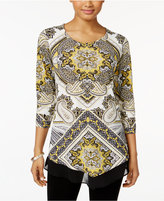 JM Collection Petite Printed Chiffon-Hem Top, Only at Macy's