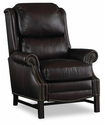 """Bradington-Young Alta 36.5"""" Wide Genuine Leather Power Standard Recliner Color: Mahogany Finish/Natural Brass Nails"""
