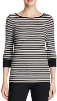 Three Dots Melinda Three Quarter Sleeve Stripe Tee