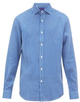 Ralph Lauren Purple Label Striped Linen Shirt - Mens - Blue White