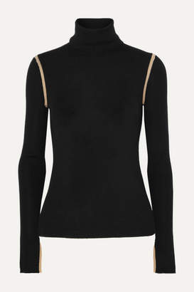 Equipment Mourelle Ribbed Wool Turtleneck Sweater - Black