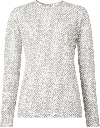 Burberry Long-Sleeved Monogram Devore Top