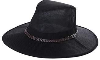 Jeff & Aimy UPF 50+ Crushable Soft Aussie Mesh Breezer Hat - Wide Brim Safari Sun Hat UV Protection Chin Strap- Fishing Hiking Hat - Bush Outback Trekking Hat Black 58cm M/L