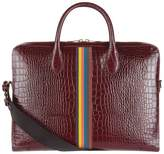 Paul Smith Croc-Embossed Striped Briefcase