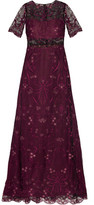 Marchesa Embroidered Tulle And Chiffon Gown