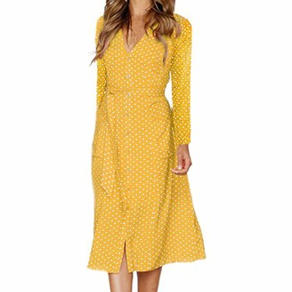 Toamen Women's Tops Womens Dresses Toamen Clothes Sale Sexy V Neck Vintage Dot Printing Button Long Sleeve Bohemia Daily Evening Party Dress with Belt(Yellow 12)