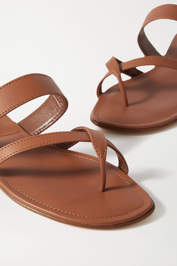 Thumbnail for your product : Manolo Blahnik Susa Leather Sandals - Brown
