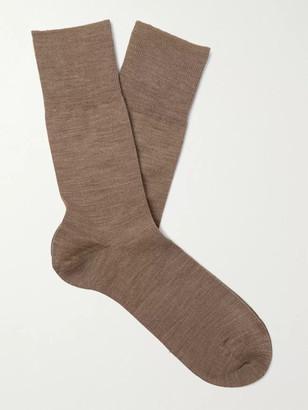 Falke Airport City Virgin Wool-Blend Socks - Men - Brown