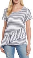 Caslon Asymmetrical Ruffle Short Sleeve Sweatshirt (Regular & Petite)