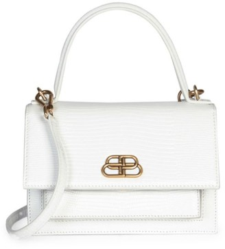 Balenciaga Extra-Small Sharp Croc-Embossed Leather Top Handle Satchel