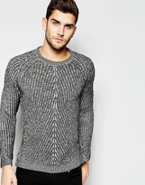 Asos Crew Neck Sweater with Chevron Stitch