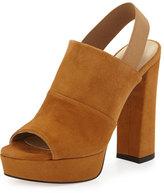Stuart Weitzman Partition Suede Platform Sandal, Camel