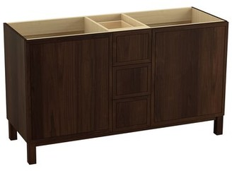 "Kohler Jacquard 60"" Vanity Base Only with Furniture Legs, 2 Doors and 3 Drawers, Split Top Drawer"