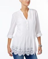 Style&Co. Style & Co Cotton Pleated Eyelet-Hem Top, Only at Macy's