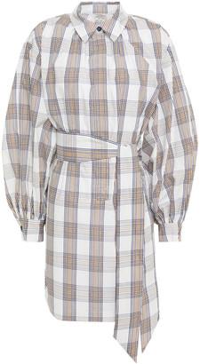Baum und Pferdgarten Aubree Belted Checked Organic Cotton-poplin Mini Dress