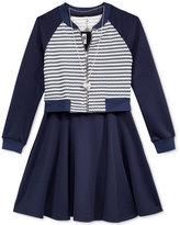 Beautees 3-Pc. Bomber Jacket, Skater Dress & Necklace Set, Big Girls (7-16)