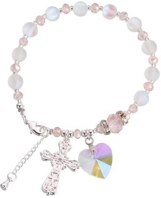 "Lillian Rose Pink & Silver Rosary Bracelet 7.25"""
