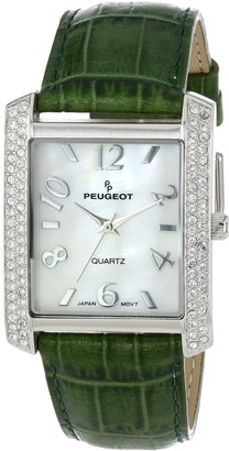 Peugeot Women's 325GR Silver-Tone Swarovski Crystal Accented Green Leather Strap Watch