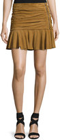 Veronica Beard Weston Ruched Leather Mini Skirt, Tan