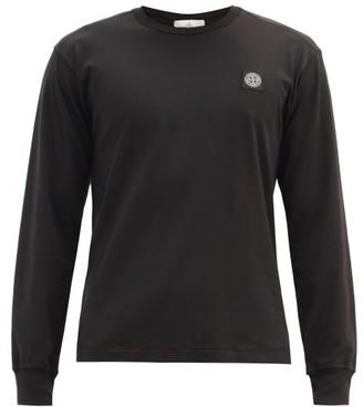 Stone Island Logo-patch Cotton-jersey Long-sleeved T-shirt - Black