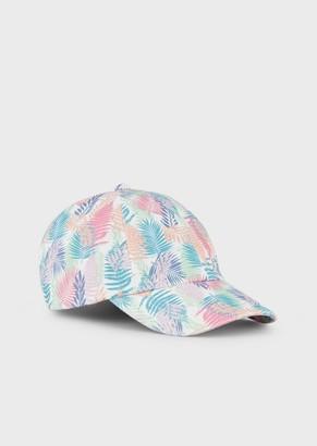 Ea7 Visored Cap With Foliage Pattern