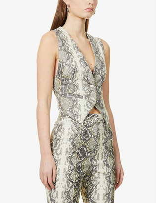 Rotate by Birger Christensen Lauryn snake-print faux-leather waistcoat