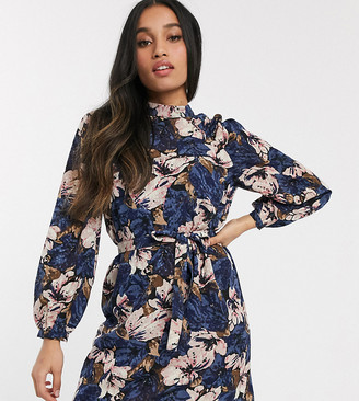 Vero Moda Petite pleated detail mini dress in textured floral print
