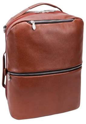 "McKlein Usa U Series, EAST SIDE , Pebble Grain Calfskin Leather 17"" Leather, 2-in-1, Laptop & Tablet, Convertible Travel Backpack & Cross-Body, Brown (18874)"