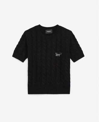 The Kooples Smart black wool sweater, cashmere