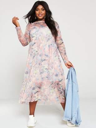 V By Very Curve V by Very Curve Mesh Midi Dress - Tie Dye