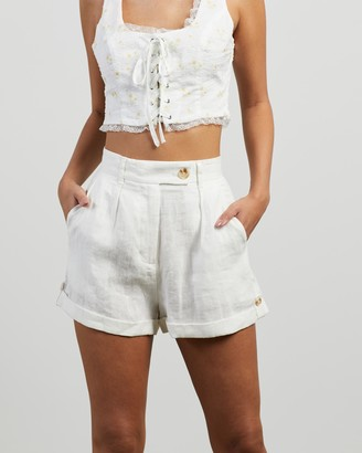 Ownley - Women's White Shorts - Rory Shorts - Size S at The Iconic
