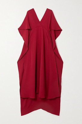 Valentino Cape-effect Lace-trimmed Silk Crepe De Chine Dress - Crimson