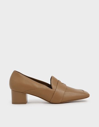 Charles & Keith Square Toe Block Heel Loafers