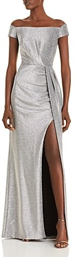 Aqua Pleat Detail Off-the-Shoulder Shimmer Knit Gown - 100% Exclusive