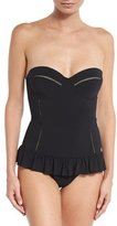 Tory Burch Solid Flounce One-Piece Swimsuit